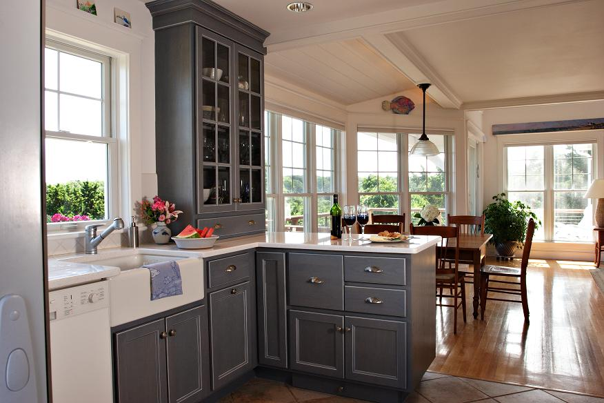Gray Kitchen cabinets in Cape Cod Kitchen by Encore Construction