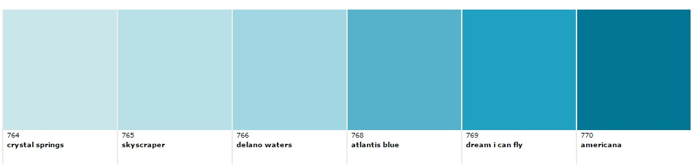Each color here is from the same blue palette just with differing